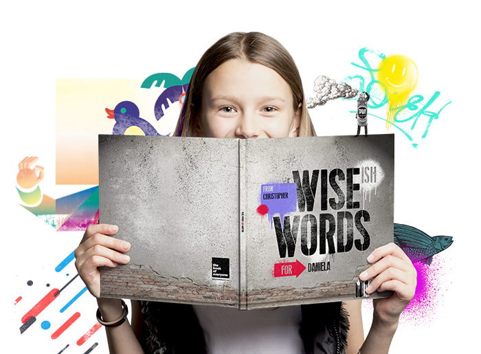 Recipient Holding A Personalised Kids Gift Book Wise(ish) Words